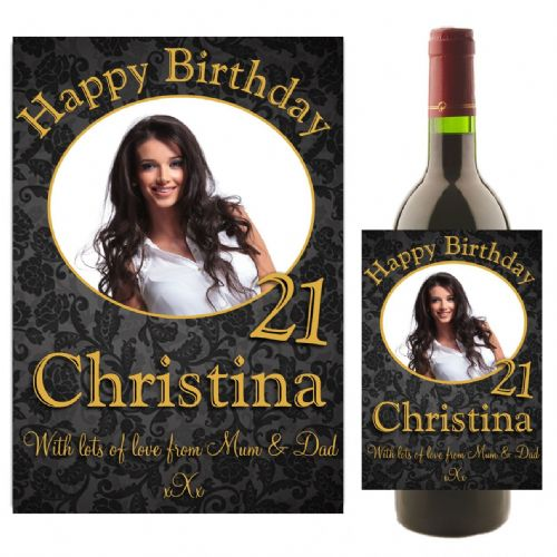 Personalised Happy Birthday Wine / Champagne Bottle PHOTO Label N6